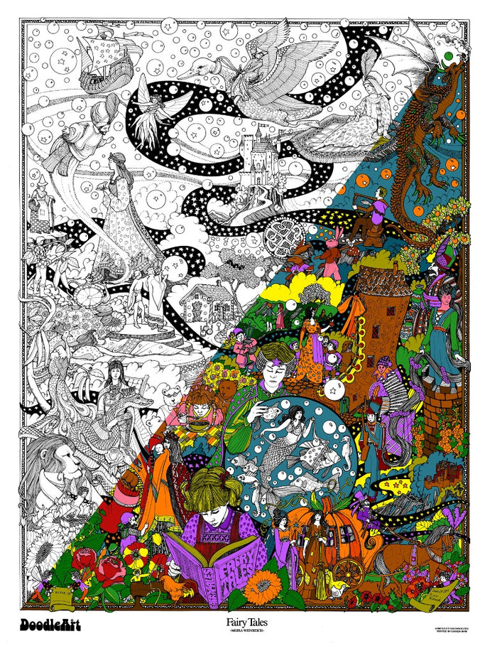 Fairy Tales Doodle Art Poster (24 x 34 inch)