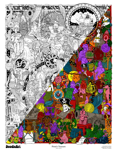 Pirates Treasure Doodle Art Poster (24 x 34 inch)