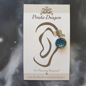 Dragon/Mermaid Scale - Blues - Non-Pierced Earcuff (EC2056)