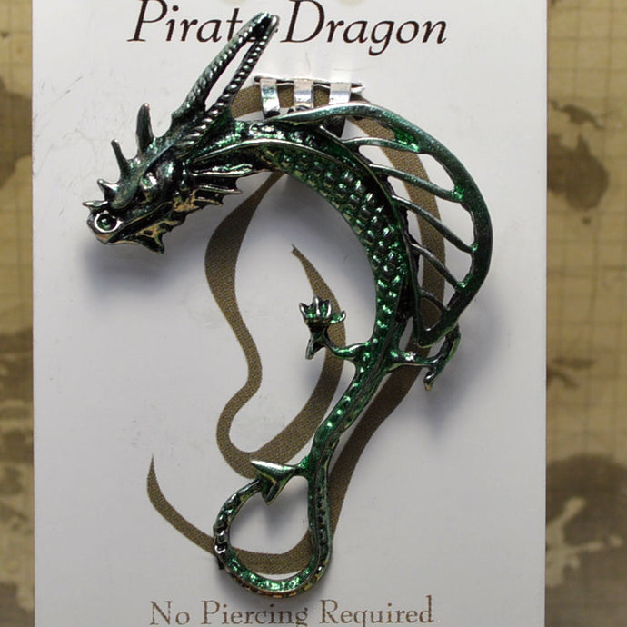 Open Wing Dragon - Green - Non-Pierced Earcuff (EC2406)