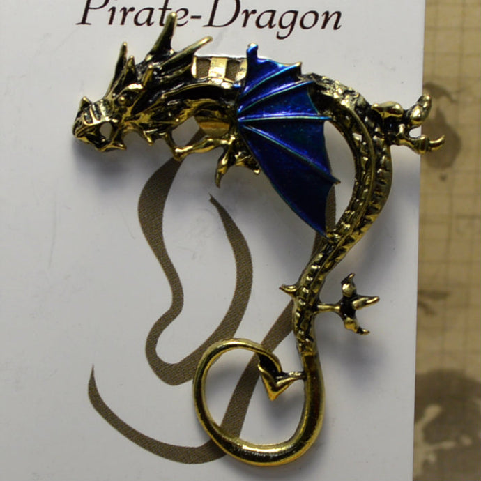 Big Wing Dragon - Dark Blue & Gold - Non-Pierced Earcuff (EC2438)