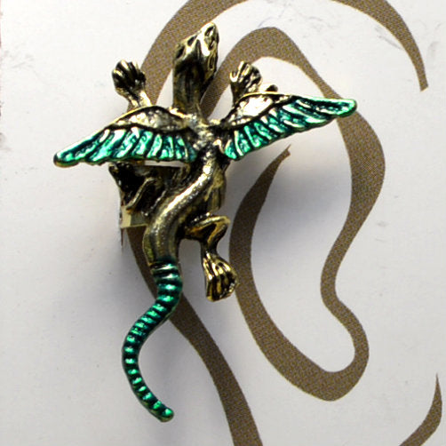 Small Dragon - Gold & Green - Non-Pierced Earcuff (EC2508)