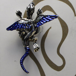 Small Dragon - Dark Blue & Silver - Non-Pierced Earcuff (EC2541)