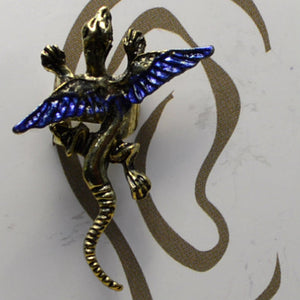 Small Dragon - Dark Blue & Gold - Non-Pierced Earcuff (EC2550)