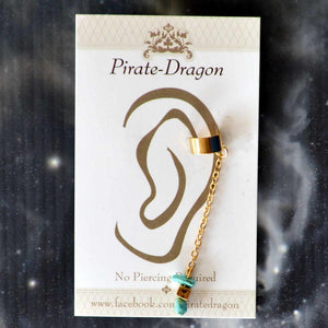 Blue Stones on Gold Chain Non-Pierced Ear Cuff (EC2645)