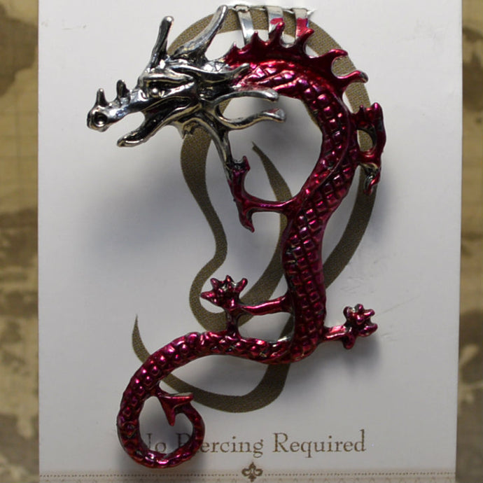 Curly Tail Dragon - Red & Silver - Non-Pierced Earcuff (EC2700)