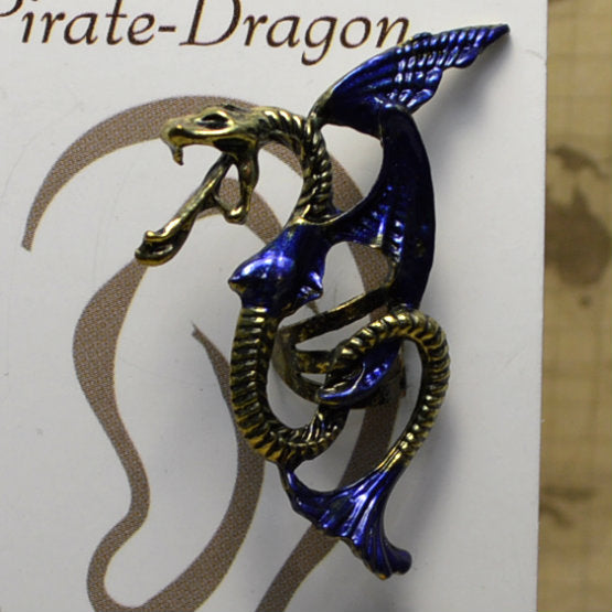 Winged Snake - Dark Blue & Gold - Non-Pierced Earcuff (EC2705)