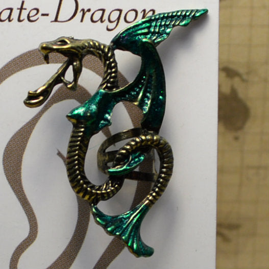 Winged Snake - Dark Green & Gold - Non-Pierced Earcuff (EC2717)