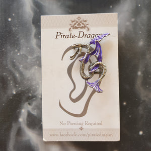 EC2731 Purple Winged Snake Non-Pierced Earcuff