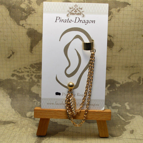 Pierced Earcuff - Gold Chain & Leaves (EC275)