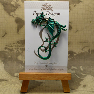 Big Wing Dragon - Dark Green - Non-Pierced Earcuff (EC2774)
