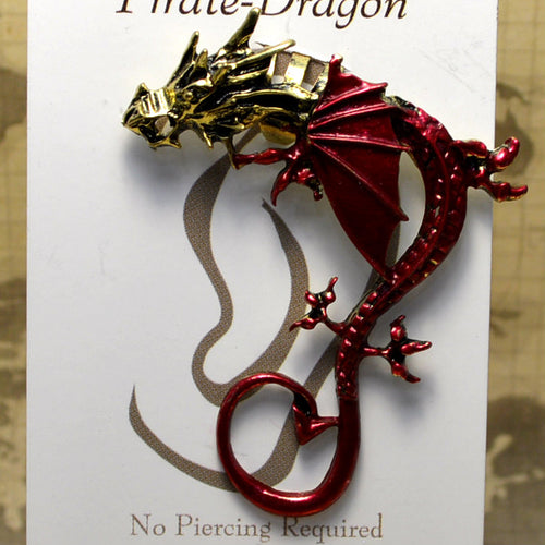 Big Wing Dragon - Red & Gold - Non-Pierced Earcuff (EC2791)