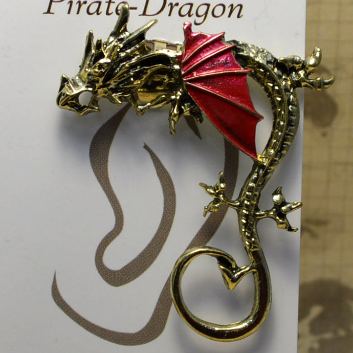 Big Wing Dragon - Red & Gold - Non-Pierced Earcuff (EC2792)