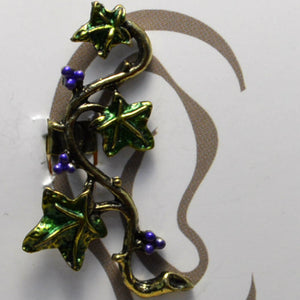 Vine Leaves - Purple Berries - Non-Pierced Earcuff (EC2805)