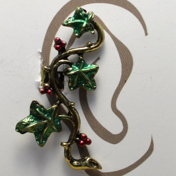 Vine Leaves - Red Berries - Non-Pierced Earcuff (EC2806)