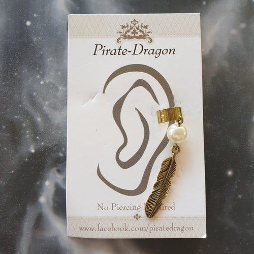 Antique Gold Feather Non-Pierced Ear Cuff (EC2818)