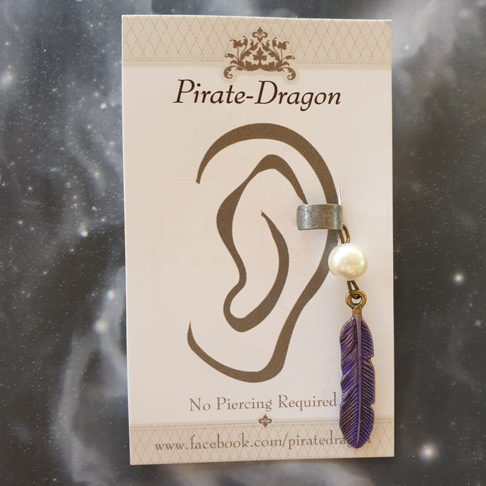 Purple Feather Non-Pierced Ear Cuff (EC2825)