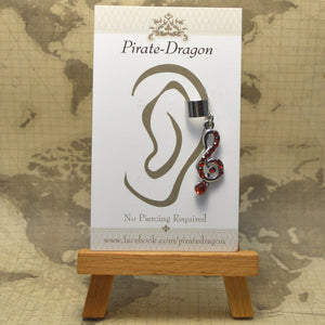 Non-Pierced Earcuff - Silver G-Clef with Red Gems