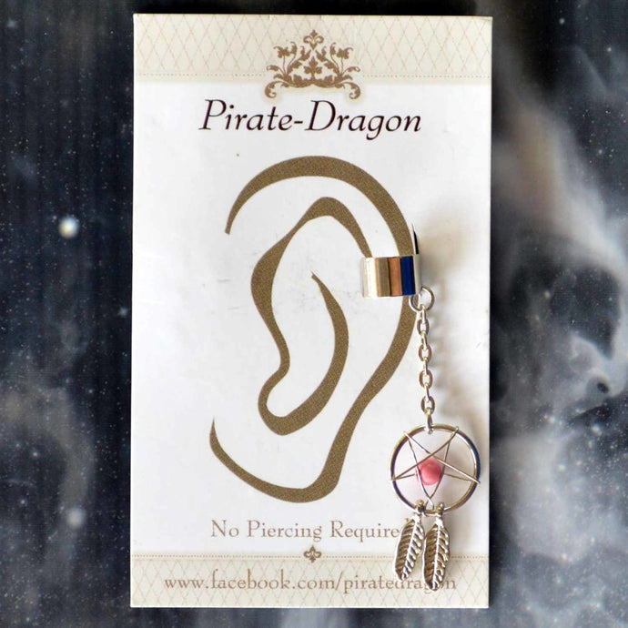 Pink Dream Catcher Non-Pierced Ear Cuff (EC2893)