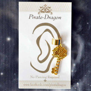 Gold Gem Key Non-Pierced Ear Cuff (EC2894)