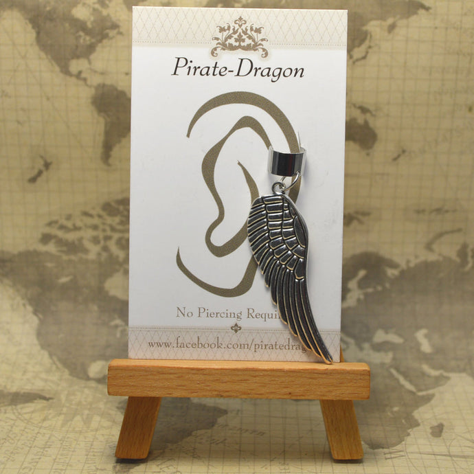 Non-Pierced Earcuff - Silver Large Wing