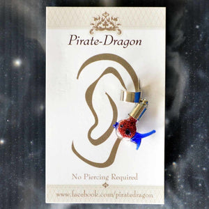 Red & Blue Fish Non-Pierced Ear Cuff (EC2949)