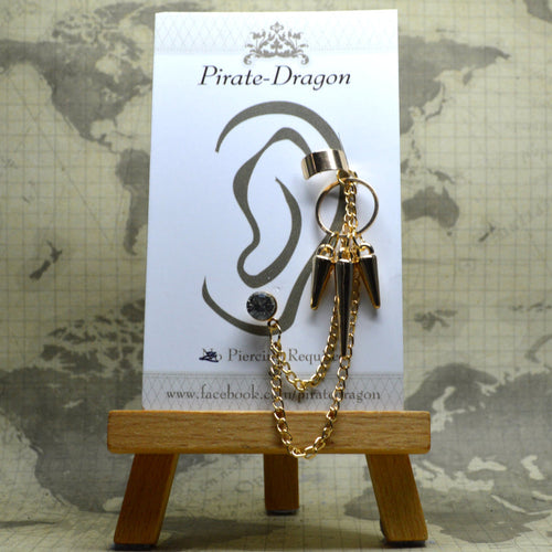 Pierced Earcuff - Gold Chains with Ring & Drops (EC4002)