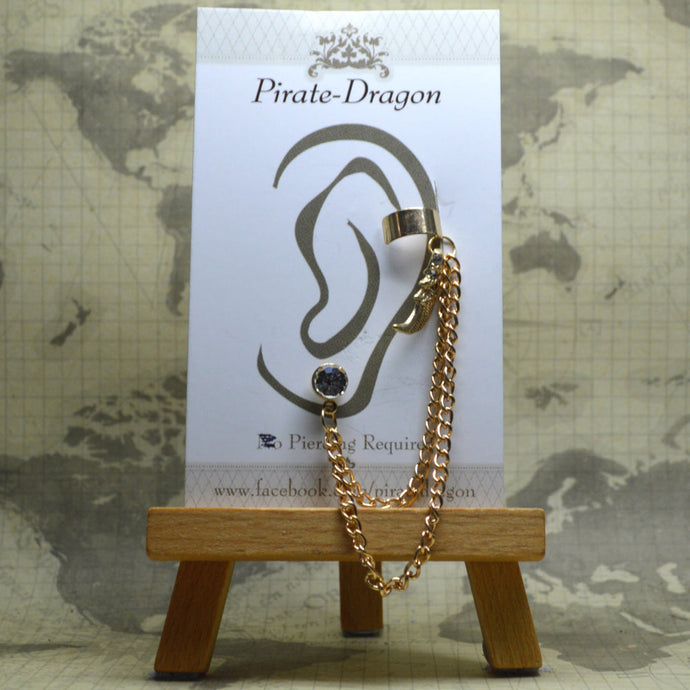 Pierced Earcuff - Gold Chains with Wing (EC4006)