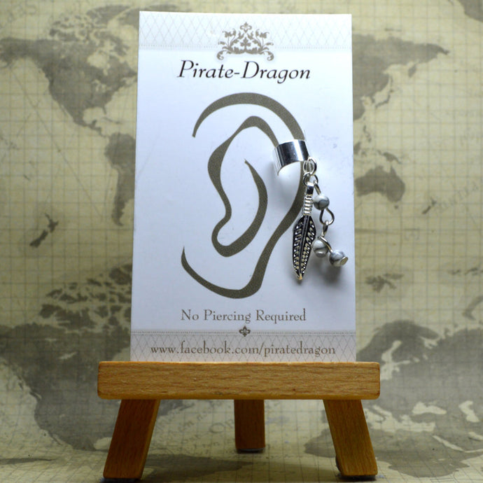 Non-Pierced Earcuff - Silver Feather & Beads (EC4045)