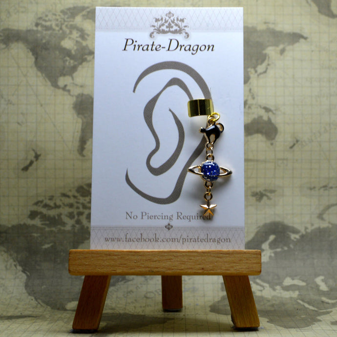 Non-Pierced Earcuff - Cat Planet & Star (EC4068)
