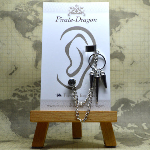 Pierced Earcuff - Silver Chains with Ring & Drops (EC4116)