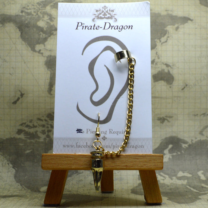 Pierced Earcuff - Gold Chains with Drop (EC4122)