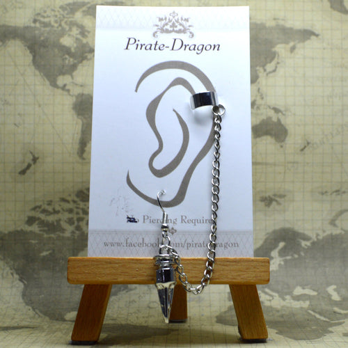 Pierced Earcuff - Silver Chains with Drop (EC4125)