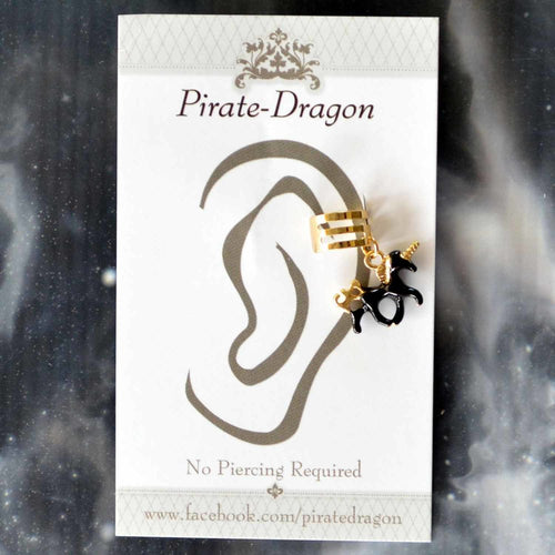 Black Unicorn Non-Pierced Ear Cuff (EC4151)