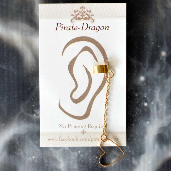 Gold Heart on Chain Non-Pierced Ear Cuff (EC4165)