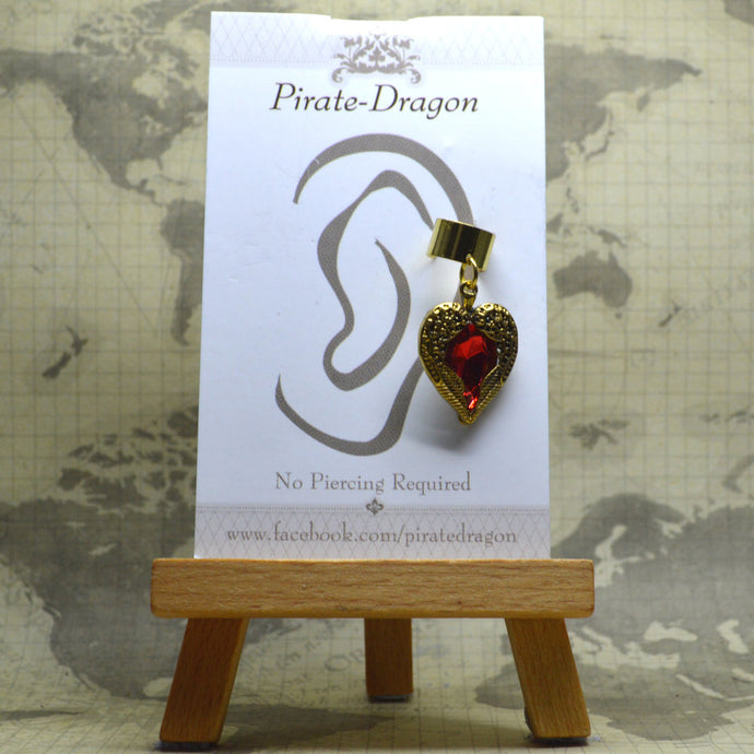 Non-Pierced Earcuff - Gold & Red Gem Heart (EC4168)