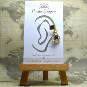 Non-Pierced Earcuff - Gold Flower with Purple Gem (EC4176)