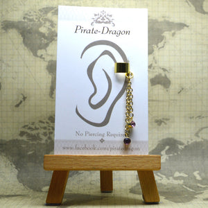 Non-Pierced Earcuff - Gold Chain with Purple Gem Dangles (EC4180)