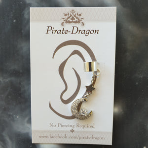 Silver Crescent Moon with Star & Gems Non-Pierced Ear Cuff (EC4210)