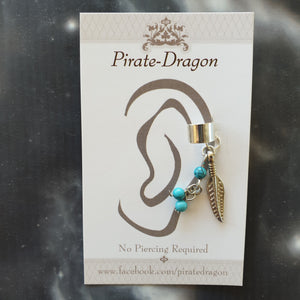 Silver Feather & Beads Non-Pierced Earcuff (EC4217)