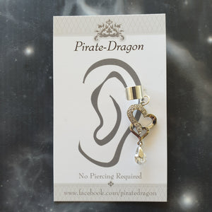 Silver Heart with Gem Drop Non-Pierced Ear Cuff (EC4220)
