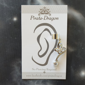 White Butterfly with Gems Non-Pierced Ear Cuff (EC4225)