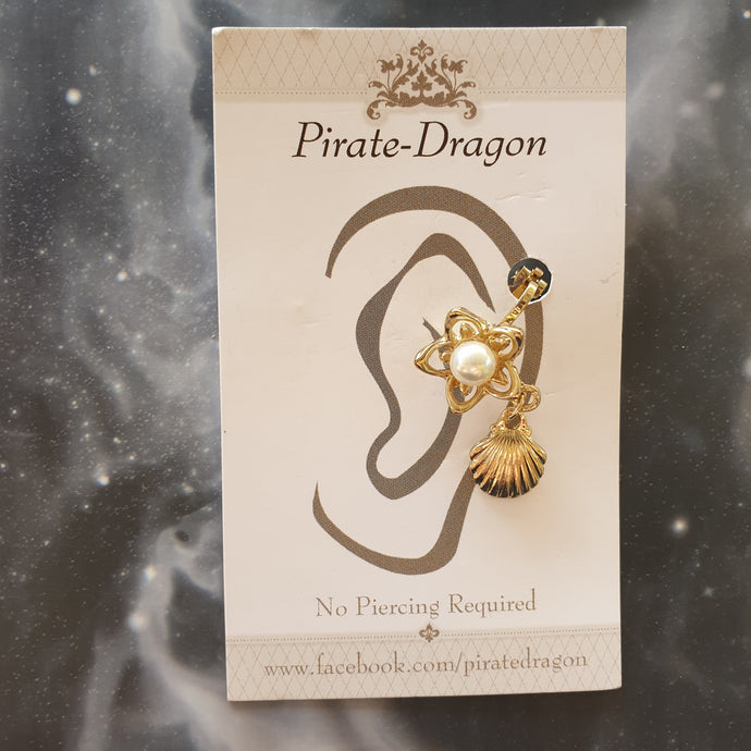 Non-Pierced Earcuff - Gold Pearl Flower with Shell Drop (EC622)