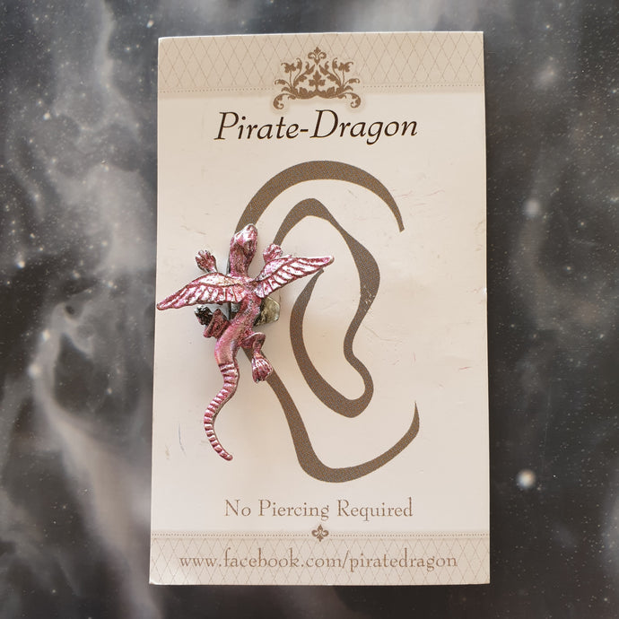 Small Dragon - Pink - Non-Pierced Earcuff (EC799)
