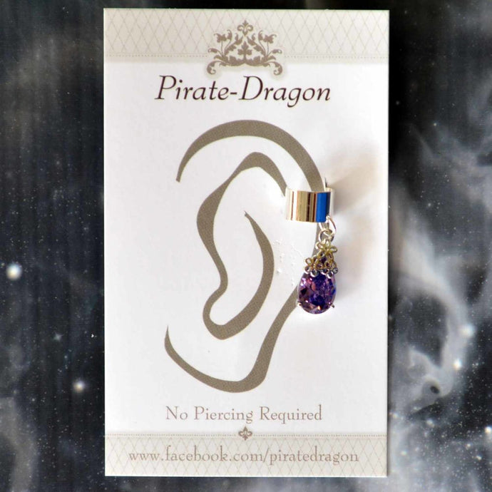 Purple Gem Non-Pierced Ear Cuff (EC9102)