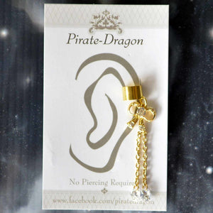 Gem Bow with Gold Chains Non-Pierced Ear Cuff (EC9103)