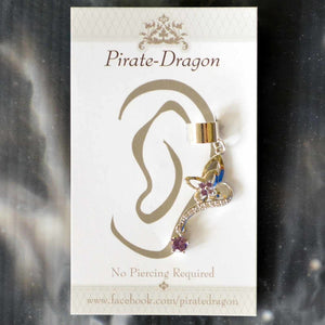 Silver Butterfly with Purple Gems Non-Pierced Ear Cuff (EC9108)