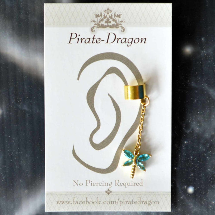 Blue Gem Dragonfly on Gold Chain Non-Pierced Ear Cuff (EC9110)