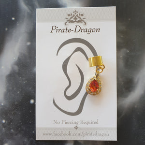 Orange Gem Non-Pierced Ear Cuff (EC9113)