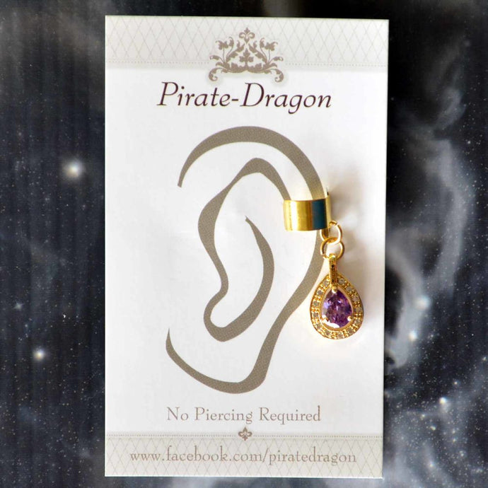 Purple Gem Non-Pierced Ear Cuff (EC9114)
